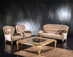 DI34 Butterfly divano, Divano classico, 3 posti, rivestimento in pelle, per salotto