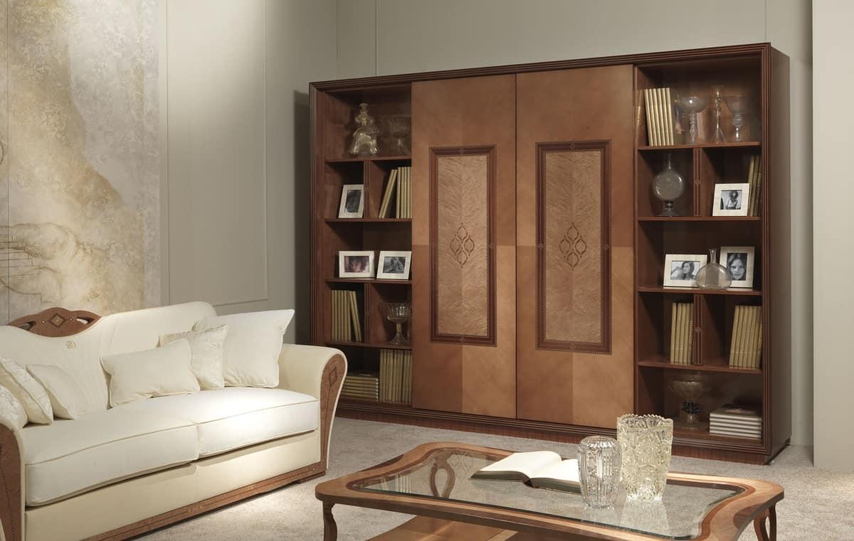DI36 Charme divano, Divano imbottito in legno, per salotti lussuosi