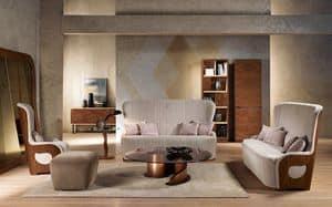DI38 Galileo divano, Divano con struttura in noce, imbottito, uso domestico