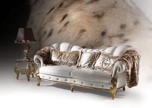 Diamond Cinque, Divano con finiture foglia oro, stile classico di lusso