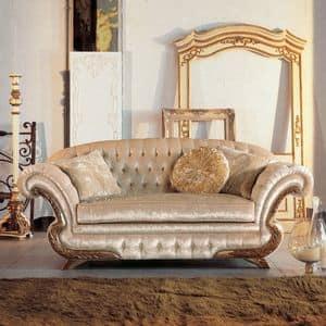 Diletta, Divano classico di lusso, cornice con finitura foglia oro