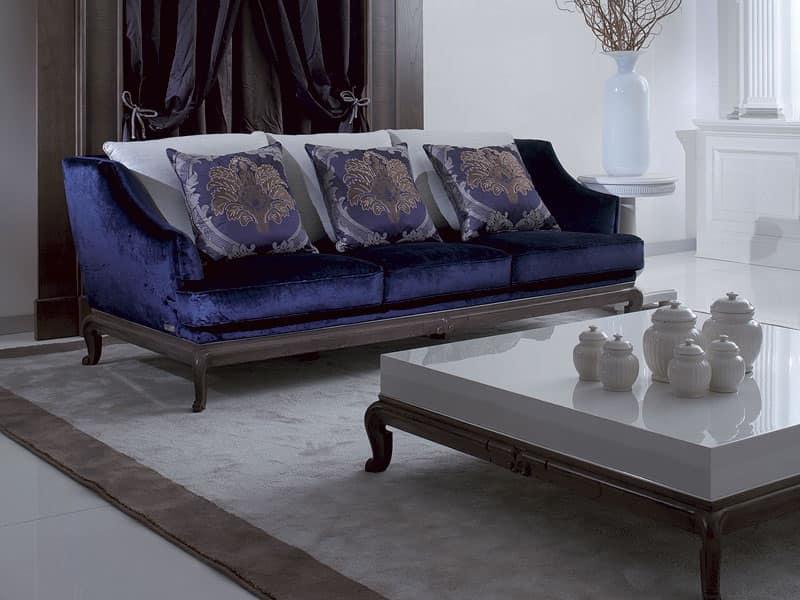 Divano lussuoso in legno massello e velluto idfdesign - Divano velluto blu ...