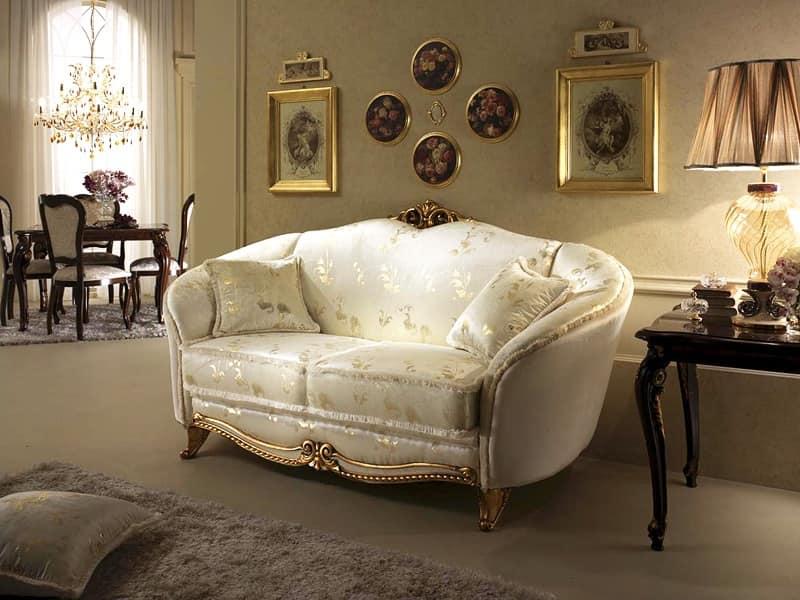 Divano in stile neoclassico decorazioni in legno - Divano tessuto damascato ...