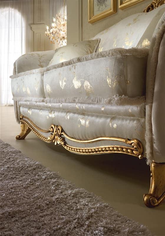 Donatello divano, Divano in stile neoclassico, decorazioni in legno intagliato a mano, per salotti