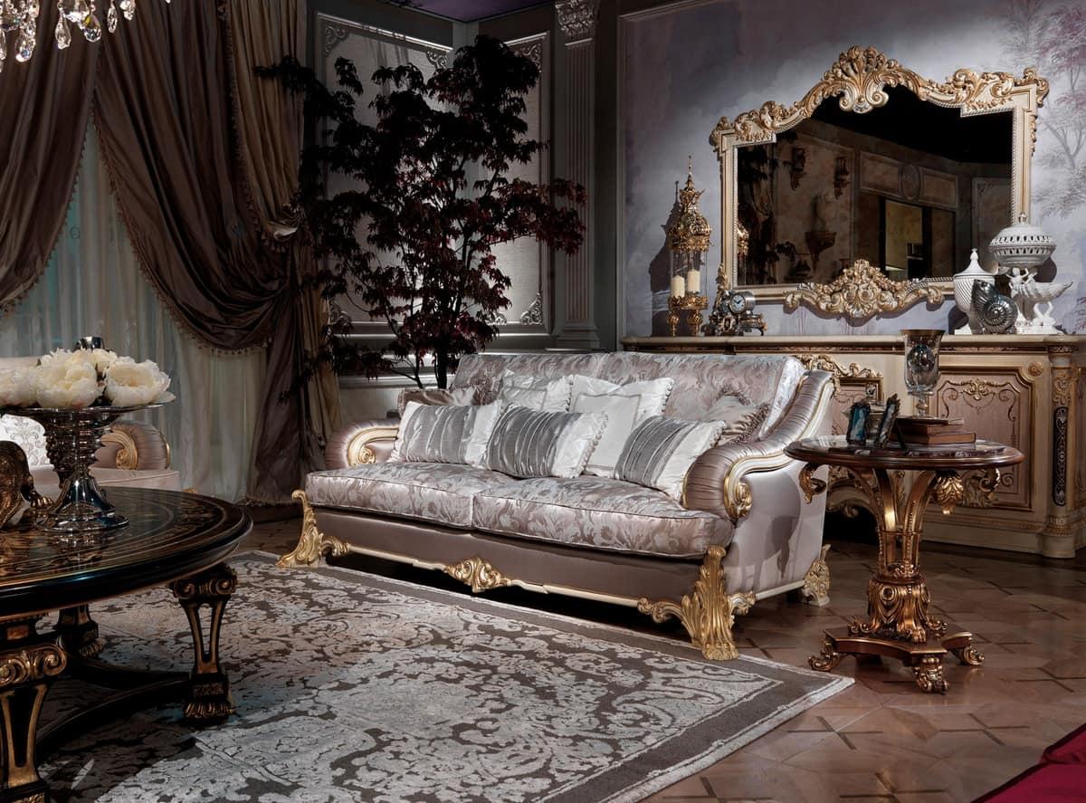 Effy, Prezioso divano intagliato a mano, con imbottitura ergonomica