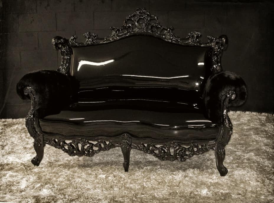 divano laccato nero stile new barocco idfdesign