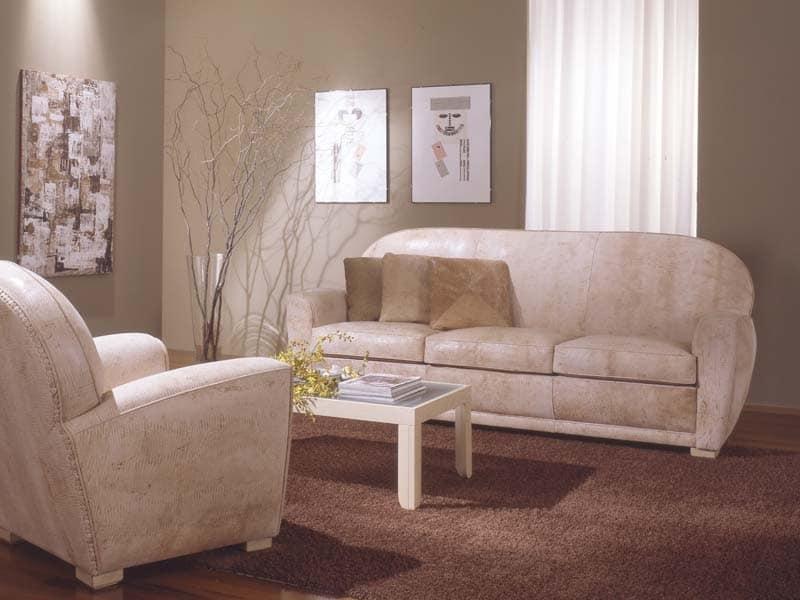 Divano in pelle per salotto e sala attesa idfdesign for Divani in pelle di design