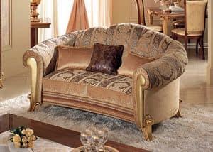 Giotto divani, Divano dalle morbide curve, con pelle dorata