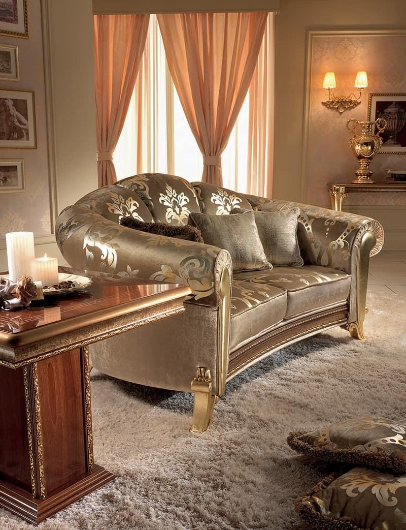 Divano dalle morbide curve con pelle dorata idfdesign for Divani di lusso marche