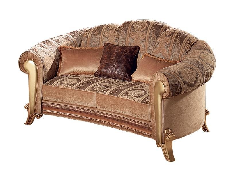 Divano dalle morbide curve con pelle dorata idfdesign for Divani curvi design