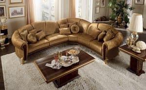 Giotto divano angolare, Divano modulare angolare, con piedini dorati, di lusso