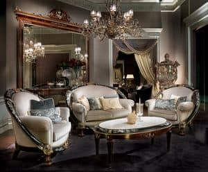 Glamour, Arredo salotto classico di lusso, salotto elegante
