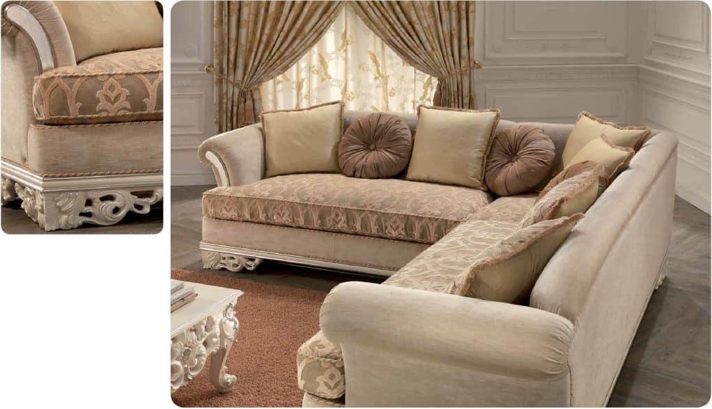 Divano angolare per salotto classico di lusso intagliato for Salotto ad angolo