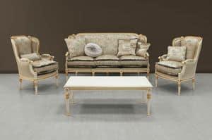 Guttuso divano, Divano di lusso laccato bianco con decori dorati