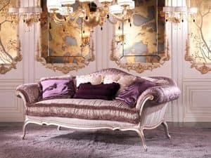 Julia, Divano di lusso imbottito in piuma, in legno color lilla