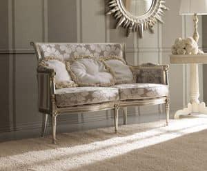Kelly 403 divano, Divano classico di lusso, in legno di faggio intagliato a mano, per salotti di alta classe