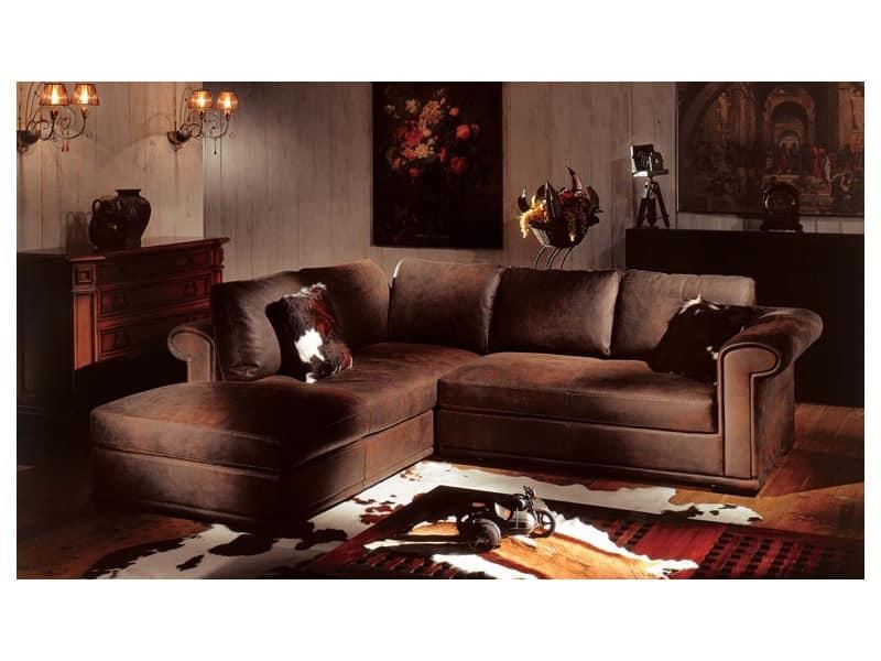 Divano angolare rivestito in pelle imbottitura in piuma idfdesign - Copridivano angolare per divano in pelle ...