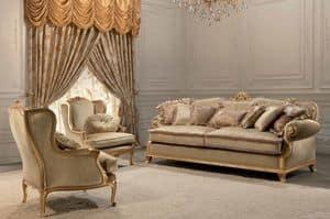 Luxury, Divano classico, 2 posti, finitura foglia oro, per salotti