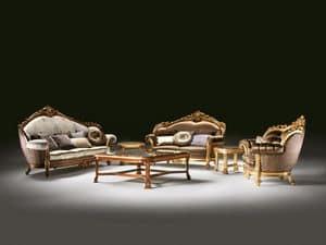 Luxury, Arredo salotto classico, divano intagliato