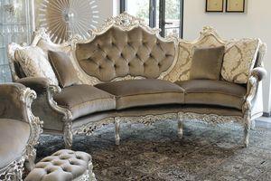 Marsiglia divano curvo, Divano curvo in stile Barocco, in faggio intagliato