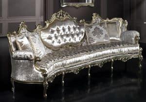 Marsiglia curvo 4 posti, Divano curvo barocco, struttura in faggio intagliato, seduta e schienale imbottiti, ricoperto in tessuto