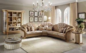 Melodia divano angolare, Divano angolare, stile classico, struttura in legno pregiato, rivestimento in tessuto