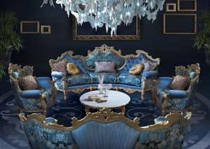 Millionaire New B/2203, Confortevole divano, a forma di curva, con ricchi intagli realizzati a mano, preziosi tessuti