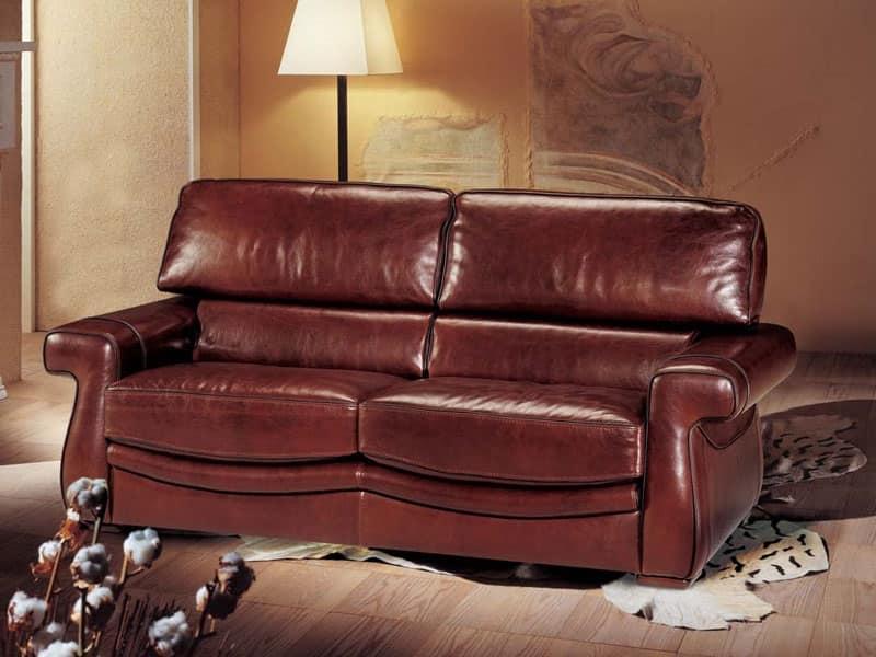 divano letto rivestito in cuoio stile classico idfdesign