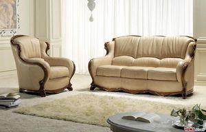 Moscow divano, Divano di lusso in pelle con cornice in legno massello lavorato