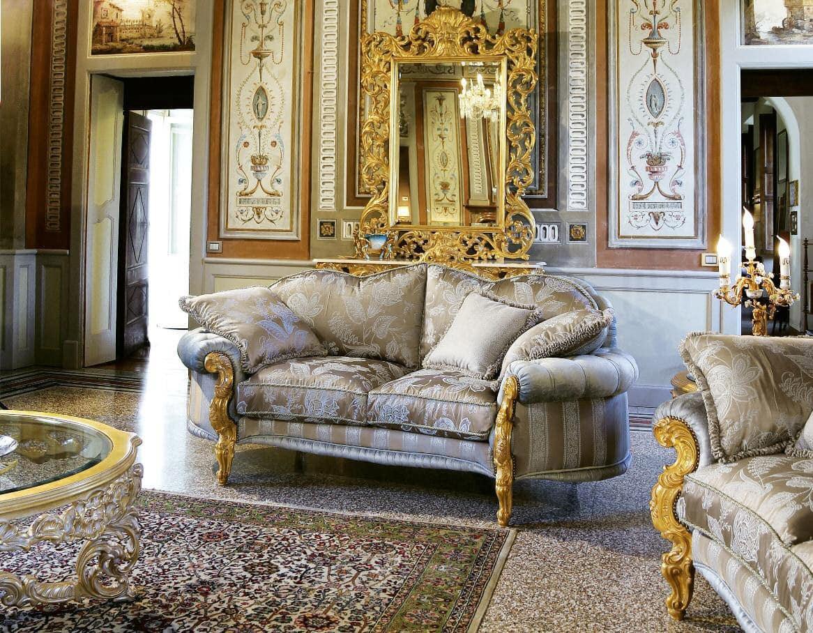 Opera divano 2 posti, Divano classico intagliato a mano, ideale per eleganti salotti