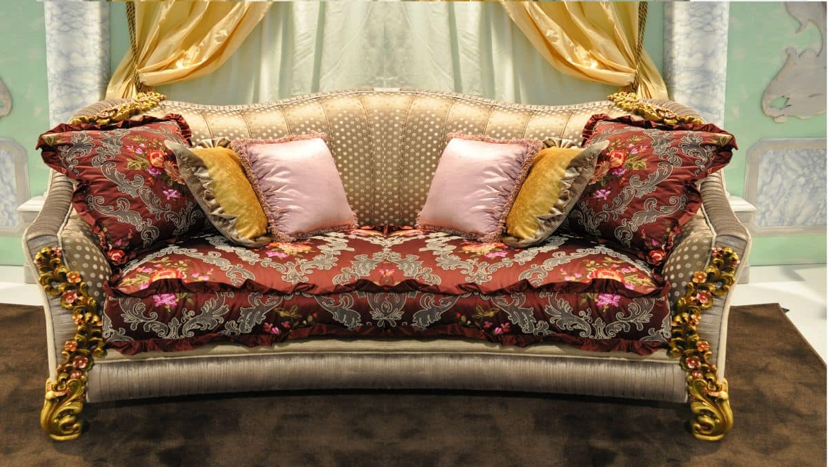 Primavera divano 2 posti, Divano classico intagliato a mano, per eleganti salotti