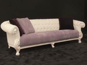 Queen 4 posti tessuto, Ampio divano, stile new barocco, laccato bianco