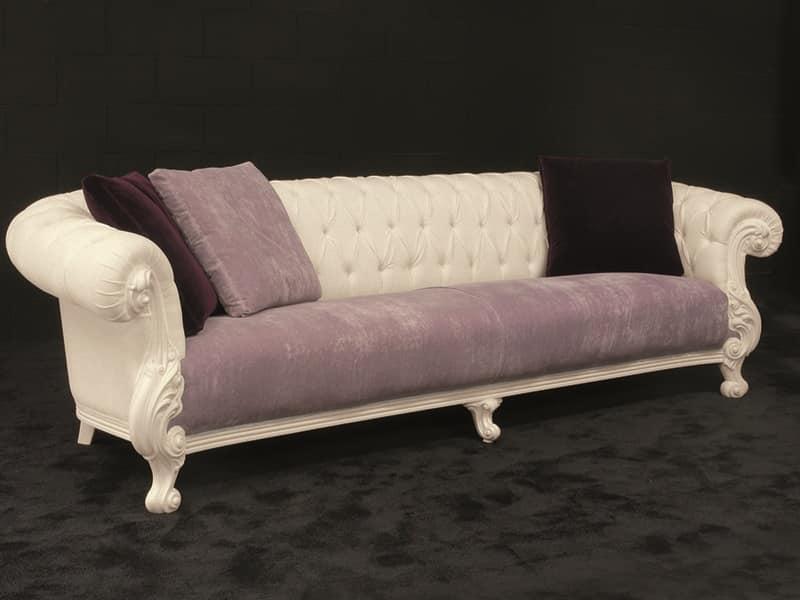 Ampio divano, stile new barocco, laccato bianco | IDFdesign