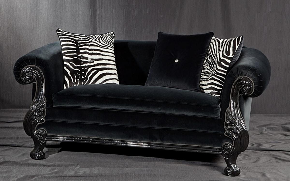 Divano stile new barocco laccato nero idfdesign - Divani in stile barocco ...
