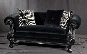 Queen nero tessuto, Divano stile new barocco, laccato nero