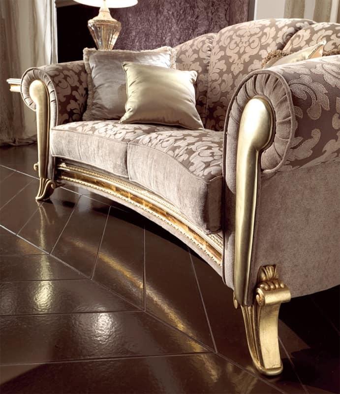 Divano imbottito classico di lusso decorazioni in oro - Divano classico lusso ...