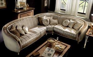 Rossini divano angolare, Divano componibile rivestito in velluto, con intarsi fatti a mano
