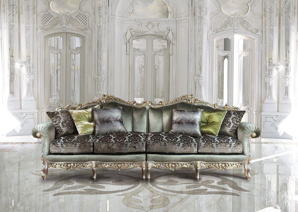Saint Germain Due, Divano 4 posti classico di lusso, intagliato a mano
