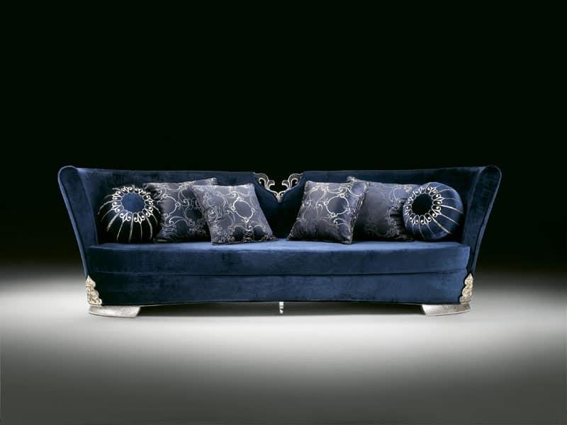 Elegante divano rivestito in velluto blu per salotti di for Divano velluto blu