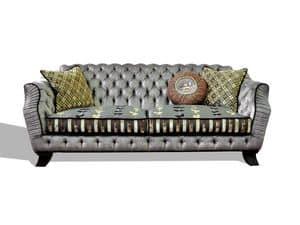 Sissy divano, Divano in pelle, capitonn�, per salotti classici