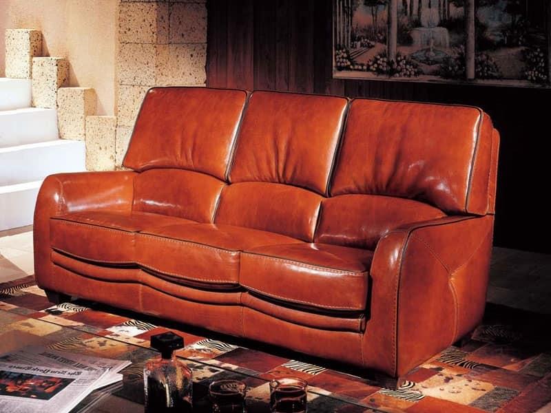Divano in stile classico in cuoio montana color marrone for Cuoio arredo