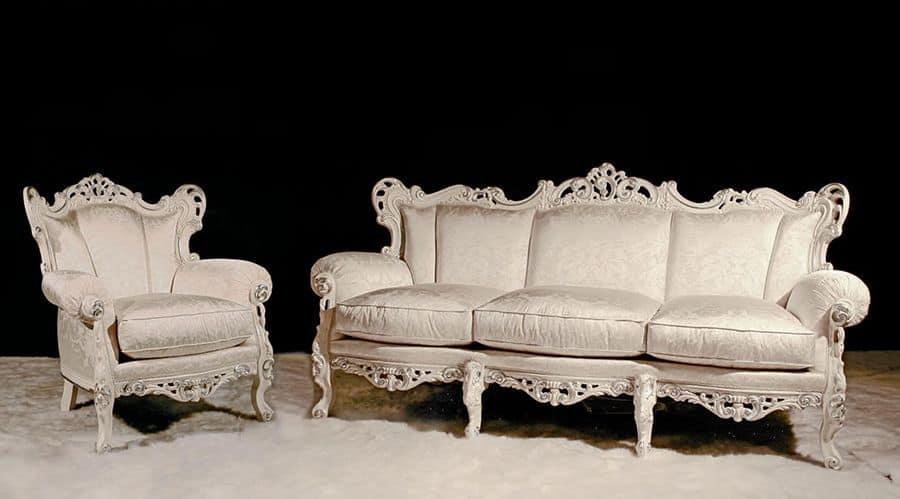 Stradivari Lounge Set, Salotto classico realizzato con materiali pregiati