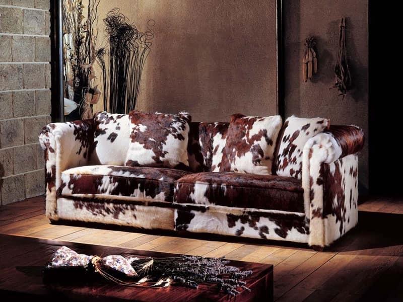 Divano rivestito in pelle di mucca, stile classico | IDFdesign