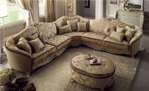 Tiziano divano angolare, Divano angolare ampio e confortevole, rivestito intessuto, struttura in legno dorato