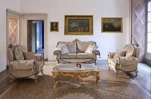 Touileries, Divano e poltrona in stile classico