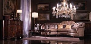 Valentina, Divano angolare rivestito in seta, stile classico di lusso