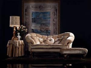 Valeria divano capitonné, Divano classico di lusso, finitura in noce, per salotto