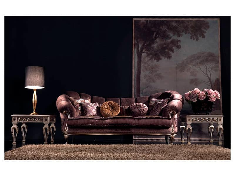 Valeria divano, Divani classici di lusso, intagliati a mano