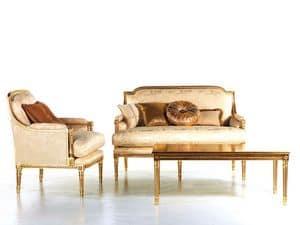 Vanessa divano, Divano imbottito, abbellimenti in oro, per reception