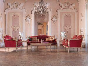 Veronica divano, Divano classico, struttura in legno, per salotti di lusso